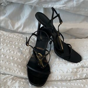 Gucci Black and Antique Gold Leather Heels